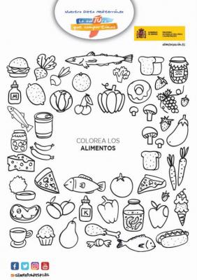 Colorea alimentos juego
