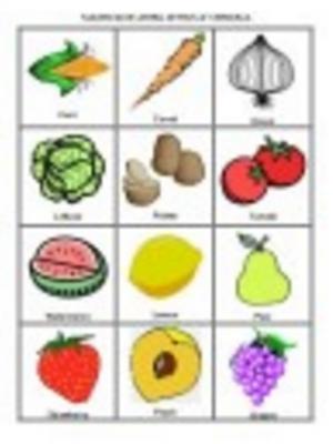 Lotería de frutas y verduras - Ficha1